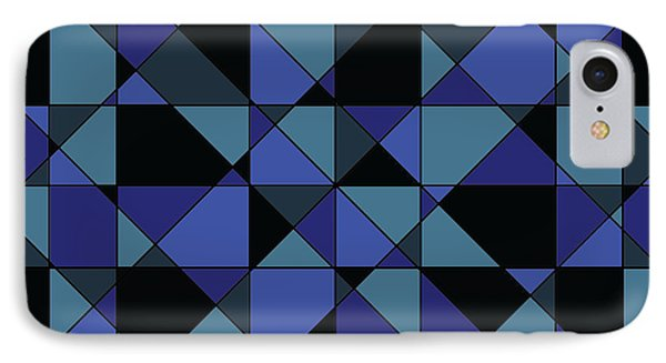 IPhone Case featuring the digital art Unique Bold Hip Blue Cyan Grey Black Geometric Pattern by Shelley Neff