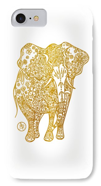 Unique Golden Elephant Art Drawing By Megan Duncanson IPhone Case by Megan Duncanson