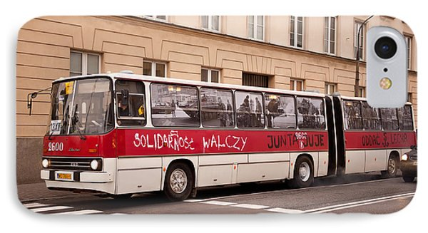 Unique Solidarnosc Bus On Street IPhone Case by Arletta Cwalina