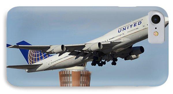 United Boeing 747-422 N128ua Phoenix Sky Harbor January 2 2015 Phone Case by Brian Lockett