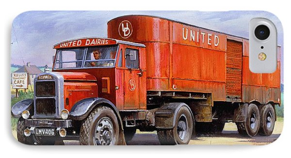 IPhone Case featuring the painting United Dairies Scammell. by Mike  Jeffries