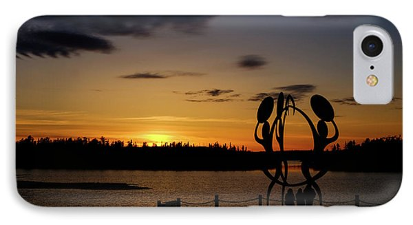 United In Celebration Sculpture At Sunset 6 IPhone Case by John McArthur