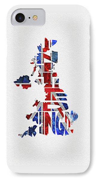 United Kingdom Typographic Kingdom IPhone Case