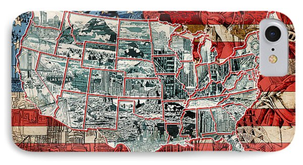 United States Drawing Collage Map 6 IPhone Case