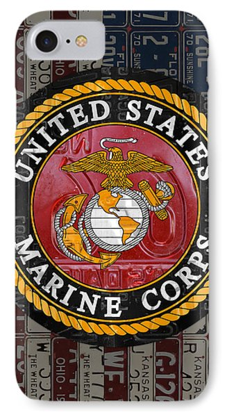 United States Marine Corps Logo Vintage Recycled License Plate Art IPhone Case