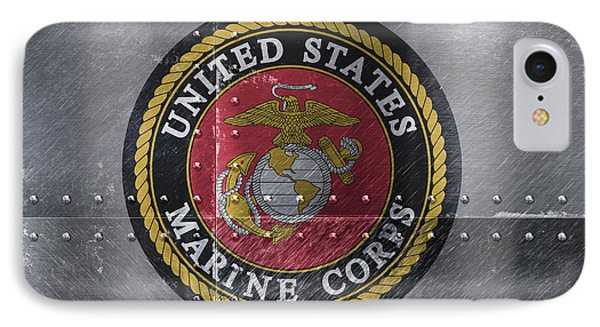 United States Marines Logo On Riveted Steel IPhone Case