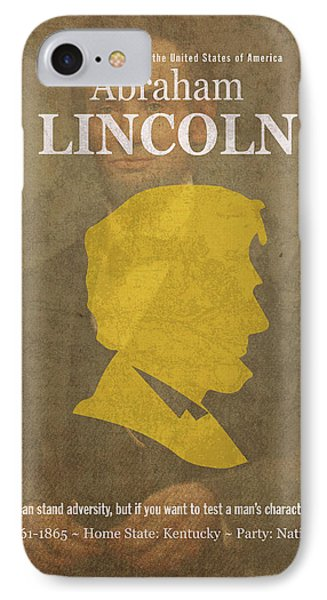 United States Of America President Abraham Lincoln Facts Portrait And Quote Poster Series Number 16 IPhone Case by Design Turnpike