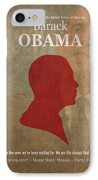 United States Of America President Barack Obama Facts Portrait And Quote Poster Series Number 44 IPhone Case by Design Turnpike