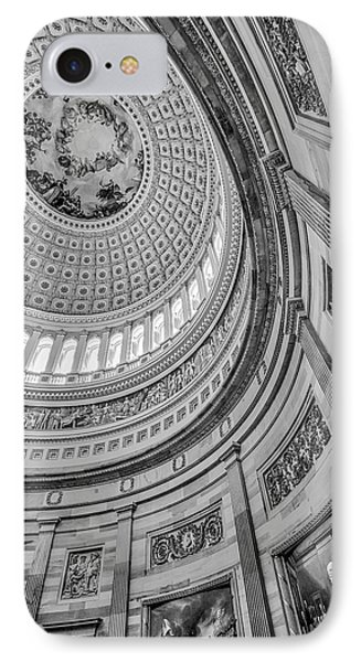 IPhone Case featuring the photograph Unites States Capitol Rotunda Bw by Susan Candelario