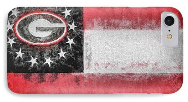 IPhone 7 Case featuring the digital art University Of Georgia State Flag by JC Findley