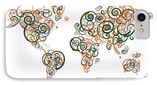 University Of Miami Colors Swirl Map Of The World Atlas IPhone Case by Jurq Studio