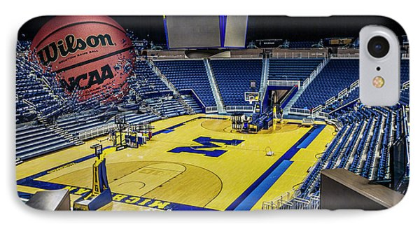 IPhone Case featuring the digital art University Of Michigan Basketball by Nicholas Grunas