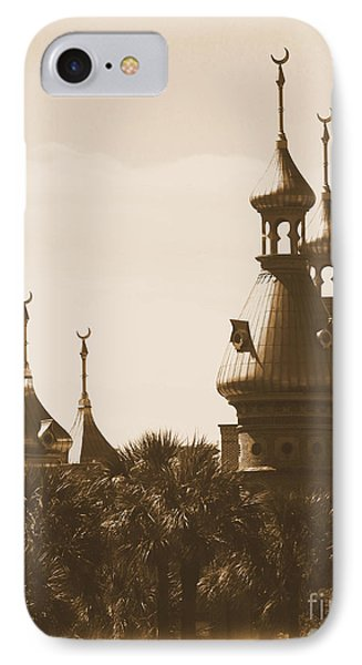 University Of Tampa Minarets With Old Postcard Framing Phone Case by Carol Groenen