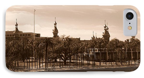 University Of Tampa With River - Sepia Phone Case by Carol Groenen