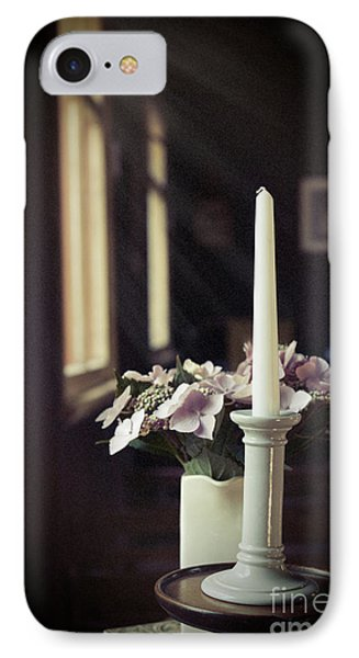 Unlit Candle In Old Church IPhone Case by Amanda Elwell