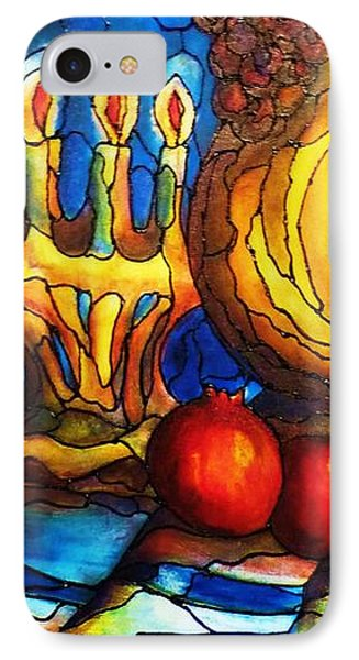 IPhone Case featuring the painting Still Life With Grapes And Pomegranates by Rae Chichilnitsky