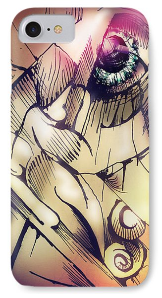 IPhone Case featuring the drawing Untitled With Eye by Keith A Link