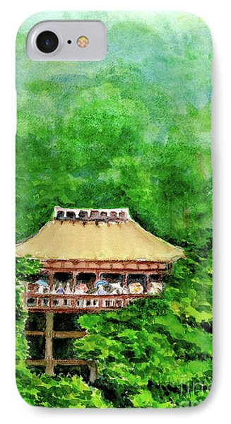 IPhone Case featuring the painting Up High Temple by Yoshiko Mishina