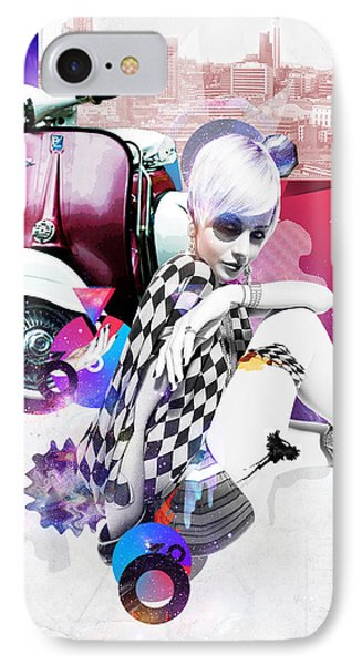 Up Town Top Scooter Girl Phone Case by Eugene James