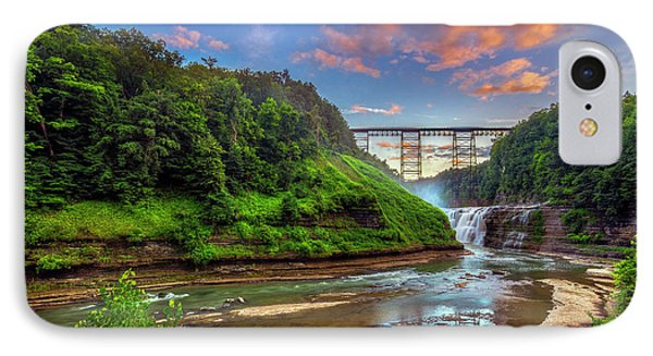 Upper Falls At Sunset IPhone Case by Mark Papke