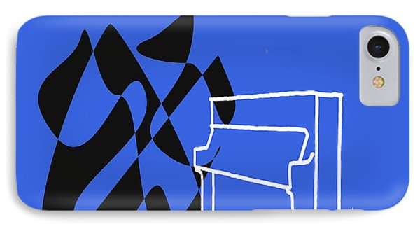 IPhone Case featuring the digital art Upright Piano In Blue by Jazz DaBri