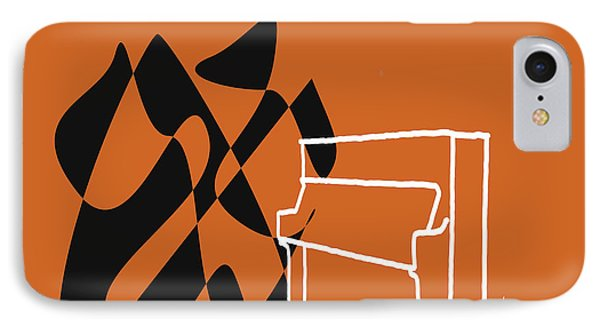 IPhone Case featuring the digital art Upright Piano In Orange by Jazz DaBri