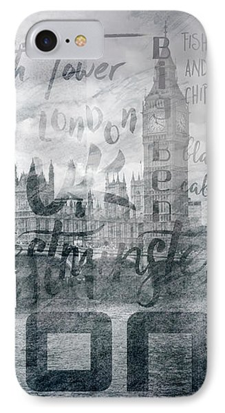 Urban-art London Houses Of Parliament And Red Buses I IPhone Case by Melanie Viola