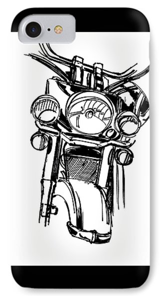 Urban Drawing Motorcycle IPhone 7 Case by Chad Glass