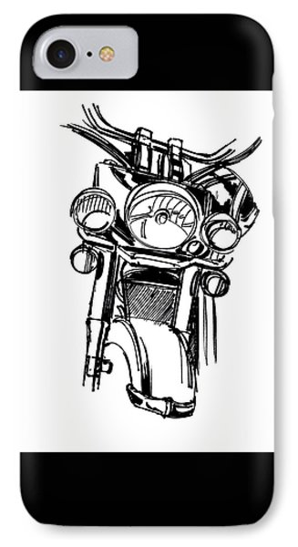 Urban Drawing Motorcycle IPhone Case by Chad Glass