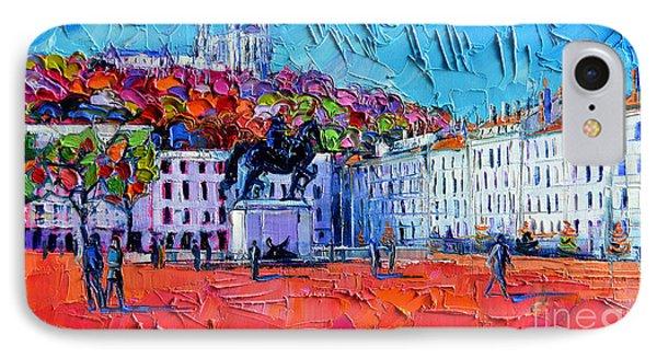 Urban Impression - Bellecour Square In Lyon France IPhone Case by Mona Edulesco