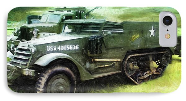IPhone Case featuring the painting U.s. Army Halftrack by Michael Cleere