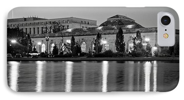 IPhone Case featuring the photograph U.s. Botanic Garden At Night In Black And White by Greg Mimbs