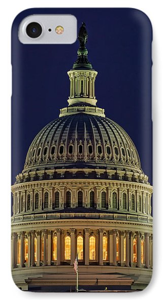 U.s. Capitol At Night IPhone Case by Nick Zelinsky