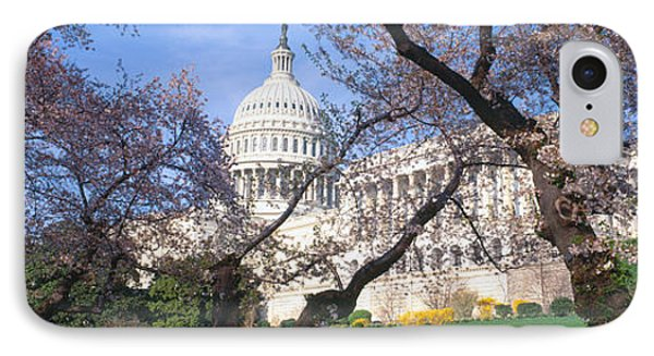 Us Capitol Building And Cherry IPhone Case by Panoramic Images