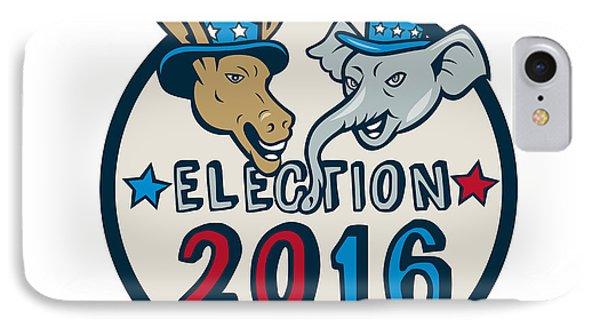 Us Election 2016 Mascot Donkey Elephant Circle Cartoon IPhone Case by Aloysius Patrimonio