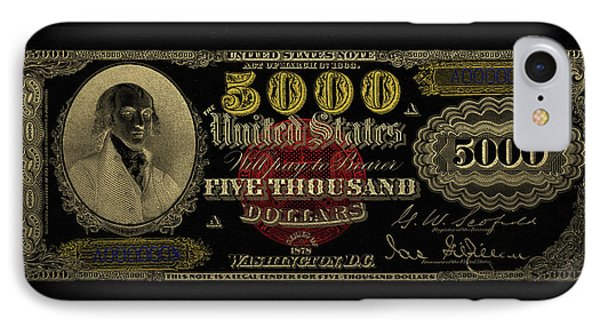 IPhone Case featuring the digital art U.s. Five Thousand Dollar Bill - 1878 $5000 Usd Treasury Note In Gold On Black  by Serge Averbukh