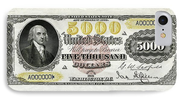 IPhone Case featuring the digital art U.s. Five Thousand Dollar Bill - 1878 $5000 Usd Treasury Note  by Serge Averbukh