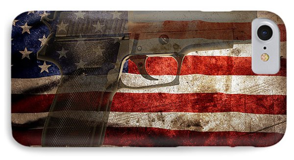 Us Gun IPhone Case by Les Cunliffe