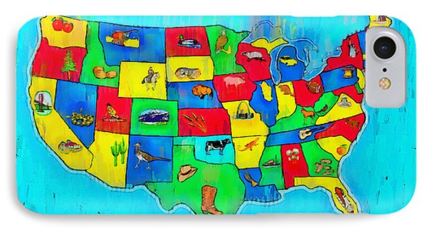 Us Map With Theme  - Free Style -  - Pa IPhone Case