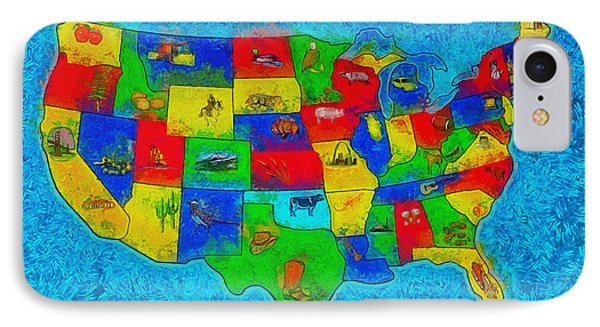 Us Map With Theme  - Special Finishing -  - Da IPhone Case by Leonardo Digenio
