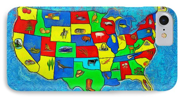 Us Map With Theme  - Van Gogh Style -  - Pa IPhone Case by Leonardo Digenio