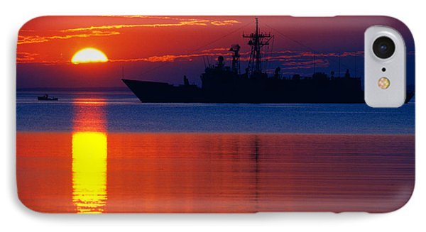 Us Navy Destroyer At Sunrise Phone Case by Thomas R Fletcher