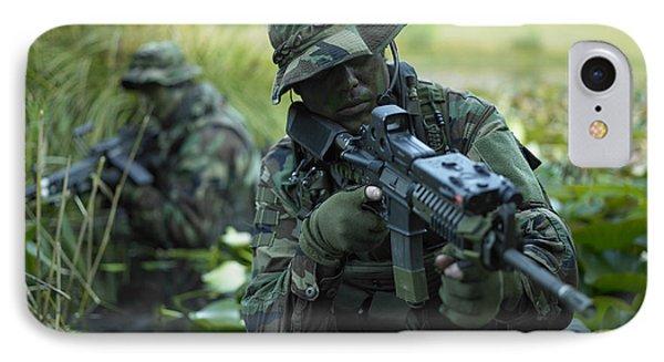 U.s. Navy Seals Cross Through A Stream Phone Case by Tom Weber