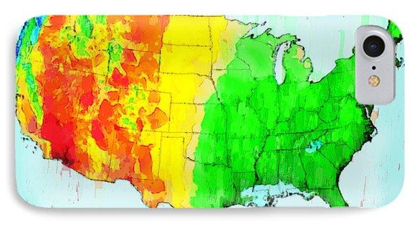 Us Precipitation Map - Da IPhone Case by Leonardo Digenio