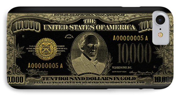 IPhone Case featuring the digital art U.s. Ten Thousand Dollar Bill - 1934 $10000 Usd Treasury Note In Gold On Black by Serge Averbukh