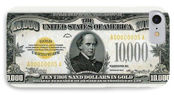 IPhone Case featuring the digital art U.s. Ten Thousand Dollar Bill - 1934 $10000 Usd Treasury Note by Serge Averbukh