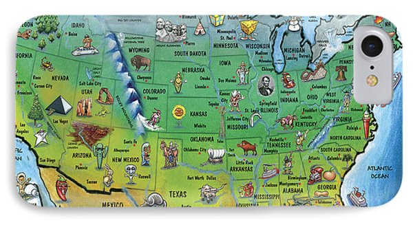 Usa Cartoon Map Phone Case by Kevin Middleton