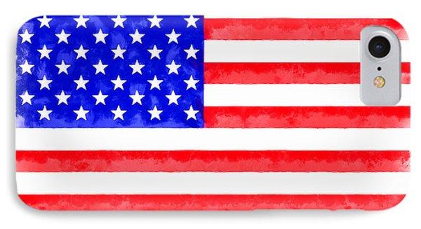 Usa Flag  - Aquarell Style -  - Pa IPhone Case by Leonardo Digenio