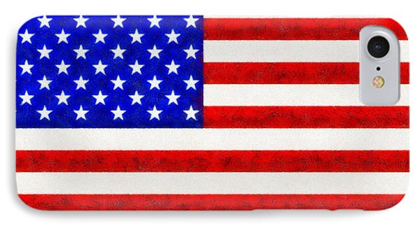Usa Flag  - Fine Wax Style -  - Da IPhone Case by Leonardo Digenio