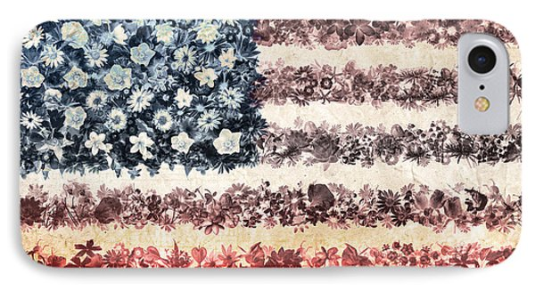 Usa Flag Floral 3 IPhone Case